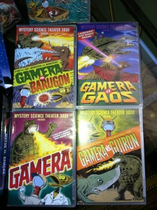 4 of 5 Gamera movies from the MST3K VS Gamera collector's tin.