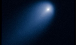 Hubble's view of Comet ISON (C/2012 S1) on April 10, 2013. This image was taken in visible light. The blue false color was added to bring out details in the comet structure. Credit:NASA, ESA, J.-Y. Li (Planetary Science Institute), and the Hubble Comet ISON Imaging Science Team
