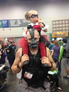 Bane with little Harley Quinn
