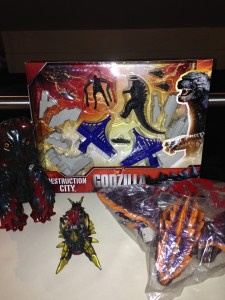 Godzilla merchandise including Hedorah and Megaguirus figures