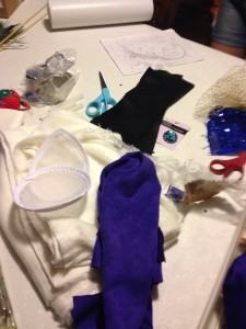 Materials for Mothra fascinator/hat