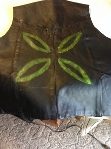Leather vest, painted with Mothra pattern, for main body of cosplay.