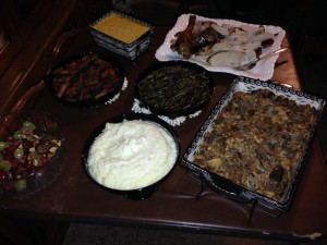 Garlic Mashed potatoes, cheesy corn, dressing, turkey and other delicious dishes.