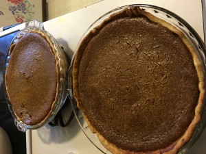 Pumpkin Pies out of the oven